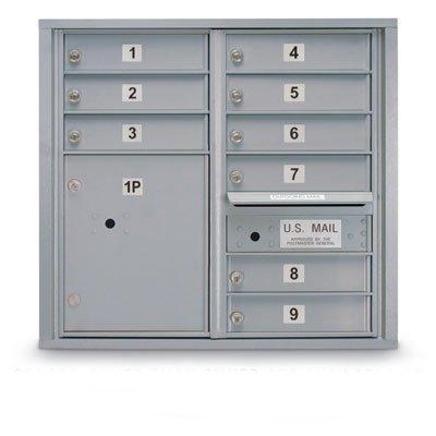 postalproducts N1029451SLVR 9 Door Standard 4C Mailbox with 1 Parcel Locker, 28.5
