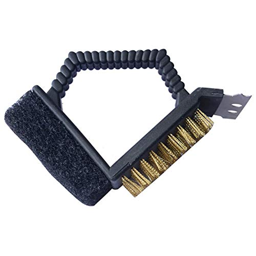 Fokine Fokine BBQ Grill Brush with Scraper, 3 in 1 Barbecue Cleaning Grill Brush- Cleaner Weber Gas/Charcoal Porcelain/Ceramic/Iron/Steel Grill Grates Strong BBQ Cleaning ()