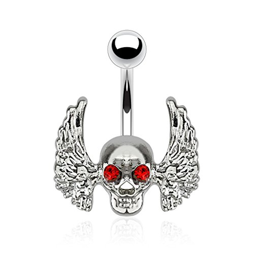 Pierced Owl Winged Skull with Red CZ Crystal Eyes Belly Button Ring in 316L Surgical Steel