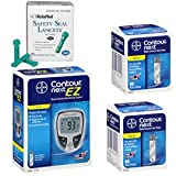 Bayer Contour Next EZ Meter Kit Combo (Meter Kit, Test Strips 100ct and Reliamed Safety Seal Lancets 100ct)