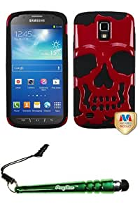 FoxyCase(TM) FREE stylus AND SAMSUNG i537 (Galaxy S4 Active) Solid Red Black Skullcap Hybrid Protector Cover cas couverture