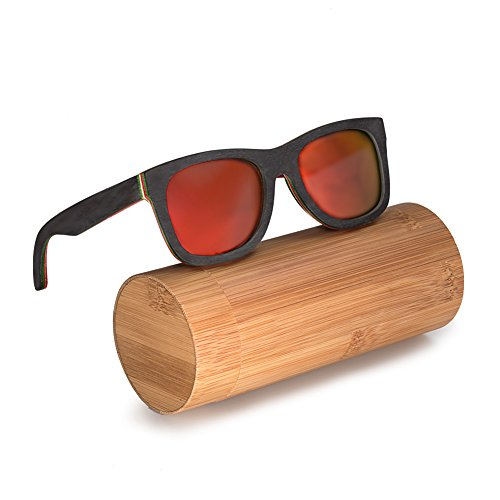 BEDATE Men and Women Polarized Wood Sunglasses Skateboard Frame G006A (G006, - Glasses Skateboard