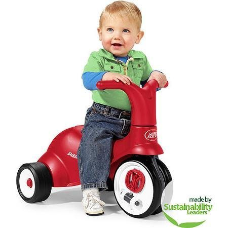 Sturdy Radio Flyer Scoot 2 Pedal 2-in-1 Ride-On/Trike, Red