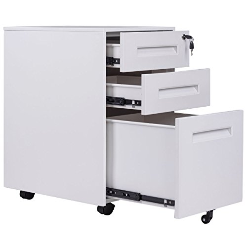 White File Cabinet Rolling Mobile A4 Drawers Pedestal Storage Steel Home Office by billionese
