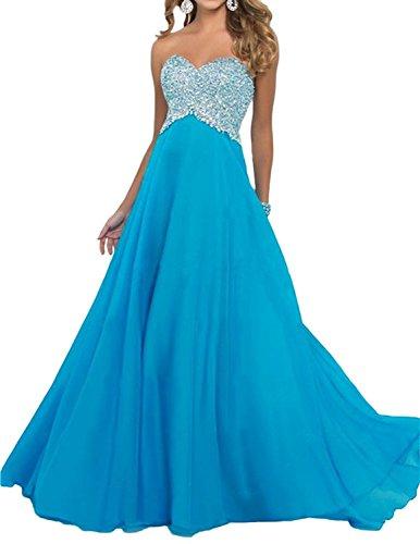 La Abendkleider Braut Marie Chiffon Damen aus Lang Blau Orange Festlichkleider Ballkleider Herzausschnitt rxXrqH1