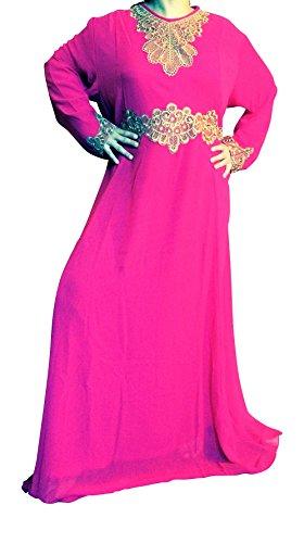 Plus Size Kaftan Maxi Dress Evening Gowns Evening Dresses Wedding Cocktail Dress (Dark Pink)