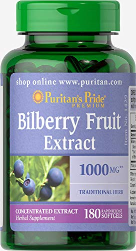 - Puritans Pride Bilberry 1000 Mg Softgels, 180 Count