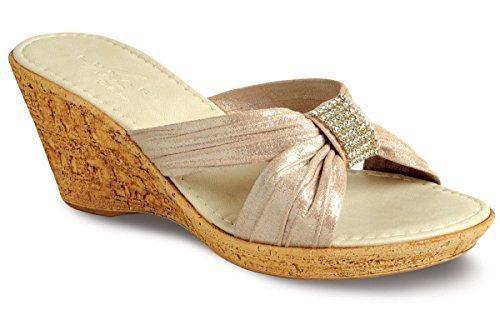 Saphir Damen Strass Steifen glänzend strukturiert mittlere Keil Damen Sandalen Beige