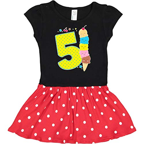 (inktastic - Ice Cream Fifth Toddler Dress 2T Black & Red with Polka Dots 2f6df)