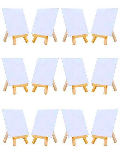 MEEDEN 4 by 4 Inch Mini Canvas Panels Combined with 3 by 5 Inch Tiny Wood Easels Set for Paintings Craft Small Acrylics Oil Projects, Pack of 12