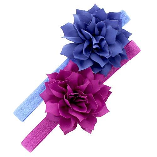 My Lello Baby Petal Flower Headbands Mixed Colors 2-Pack (Cornflower Blue/Royal Orchid) (Blue Cornflower Color)