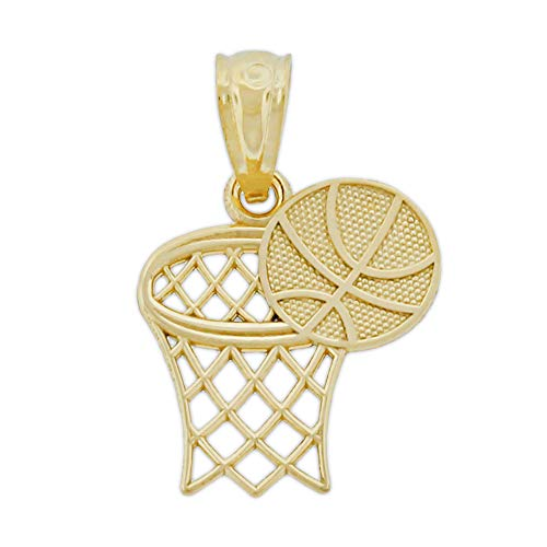 (Charm America - Gold Small Basketball and Hoop Charm - 14 Karat Solid Gold)