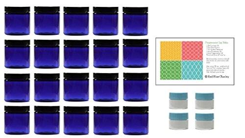 (Cobalt Blue 4 oz Plastic Jars with Black Lids (20 pk) with Mini Jars - PET Round Refillable)
