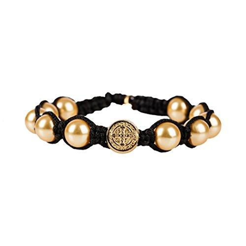 Divine Blessings Goldtone Simulated Pearl Bracelet in Black