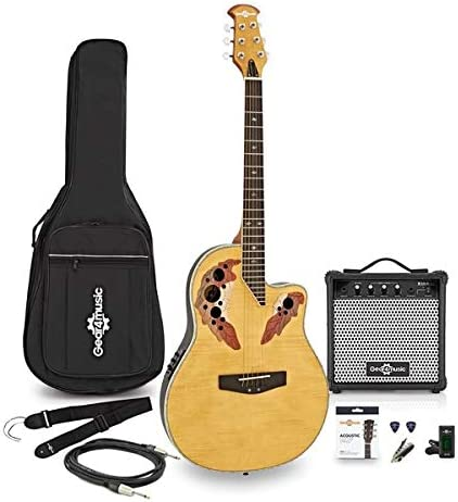 Guitarra Deluxe Con Dorso Redondeado + Pack Ampli de 15W Arce Flameado: Amazon.es: Instrumentos musicales