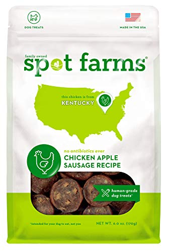 Spot Farms All Natural Human Grade Dog Treats, Chicken Apple Sausage, 6 Ounce
