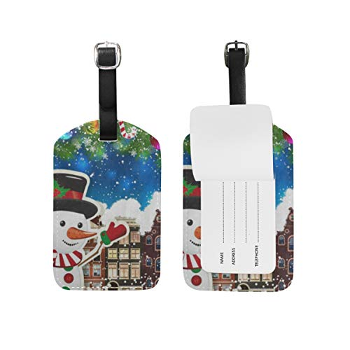Luggage Tags Colorful Snow Snowman House Christmas Tree City 1 Pack