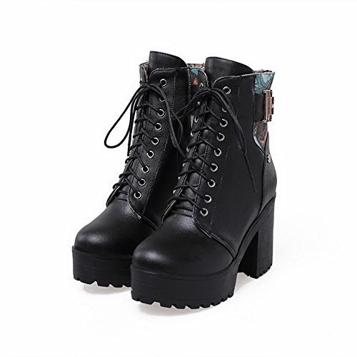 Allhqfashion Round Toe Heels Low Farbe Material Damen Weiches High Schwarz Closed Stiefel Assorted Top 5rq5t
