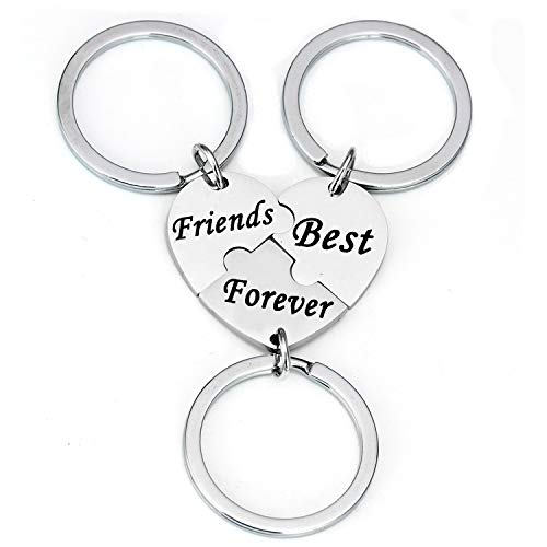 YeeQin 3PCS We Will Always Be Connected Keychain Set, Necklace Set, Best Friends Jewelry, Gift for Sisters (Best Friends Forever Matching Heart Keychain Set)