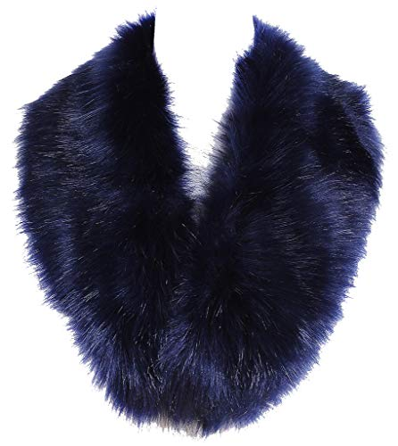 (Soul Young Faux Fur Collar Women's Neck Warmer Scarf Wrap,Navy,One Size)