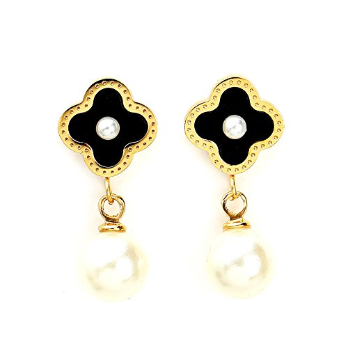 - Delicate Gold Tone Post Earrings with Contemporary Clover Design, Faux Pearl Center, Onyx Inlay and Drop Pearl (160004)
