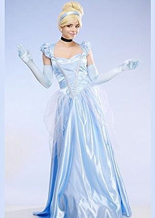 Delights Disfraz de Cenicienta clásica Larga para Mujer Azul L (UK ...