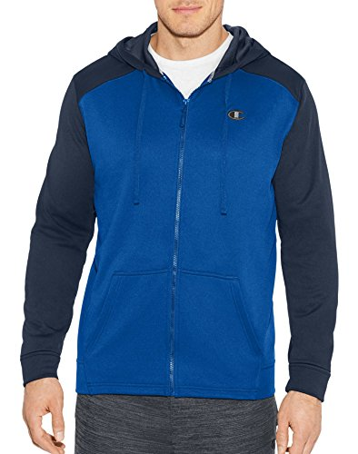 Champion Men's Tech Fleece Full Zip Hood, Surf The Web/Navy, Small