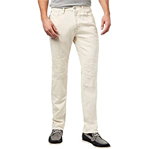 Tommy Hilfiger Mens Cali Patchwork Straight Leg Jeans Off-White 36x30