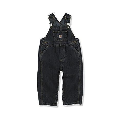 Carhartt Little Boys' Toddler Washed Denim Bib Overall, Worn In Blue, 3T - Fly Bib Overalls