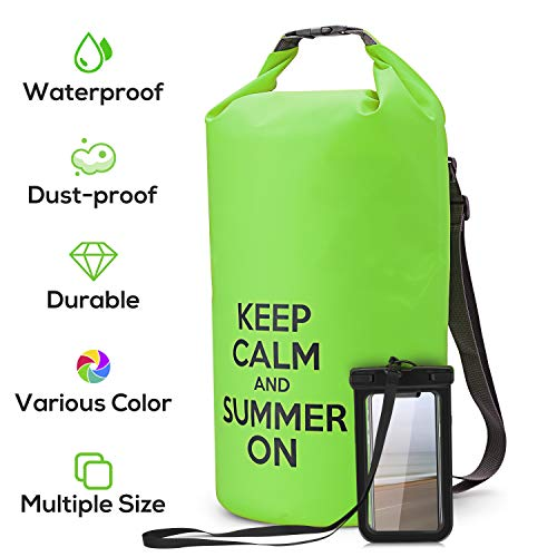 NUMYTON Waterproof Dry Bag with Backpack Straps, Floating Roll Top Dry Sack with Waterproof Phone Pouch for Kayaking, Boating, Canoeing, Fishing, Rafting, Swimming, Camping, Surfing, Green, -