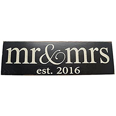 Mr & Mrs. Est 2016 Wedding Decoration Vintage Wood Sign Handmade Gift or NewlyWed Wall Decor -- SOLID PINE WOOD - UNIQUE WEDDING GIFT (Black)