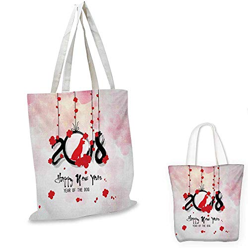 "Year of the Dog ultralight shopping bag Brush Calligraphy New Year with Cherry Blossom Silhouettes pocketable shopping bag Vermilion Black Pale Pink. 13""x13""-10"""