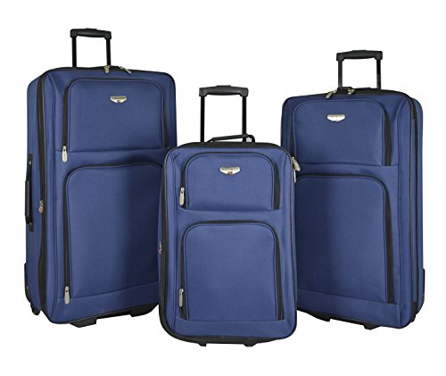 Upright Navy Large Rolling Luggage - 3 Piece Expandable