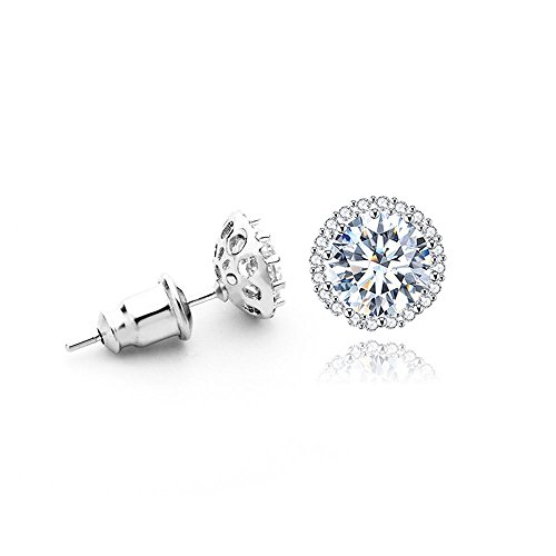 Platinum Plated 1CT Cubic Zirconia Round-Cut Halo Stud Earrings, CZ Fashion Studs for Girls, CZ earrings, Fashion Earrings Cubic Zirconia Platinum Earrings