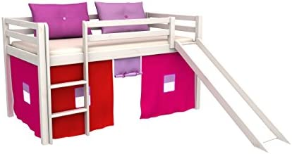 Cama de juego,cama para niños,de alta,cama con tobogan,cortinas,colchón,somier,muchos colores: Amazon.es: Bebé