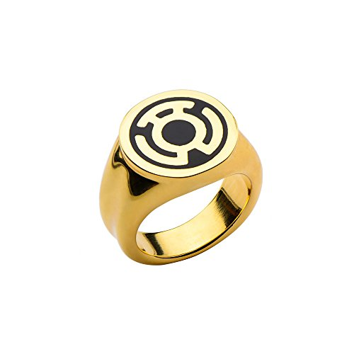 DC Comics Yellow Lantern Sinestro Fear Ring -  Gold Color Stainless Steel -