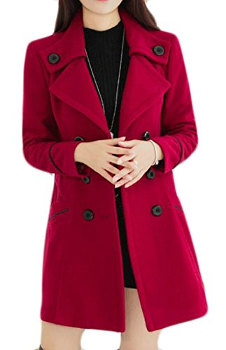 (JWK Women's Double-Breasted Slim Wool-Blend Solid Winter Pea Coats Red1 M)