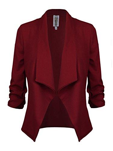 Instar Mode Women's Versatile Business Attire Blazers in Varies Styles (B12316 Burgundy, Large) by Instar Mode