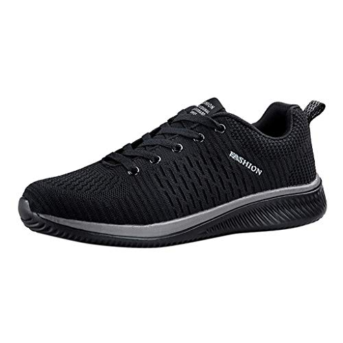 Men Lace-up Mesh Shoes Lightweight Athletic Running Shoes Breathable Sport Fitness Jogging Sneakers (Black 72, US:8.5)