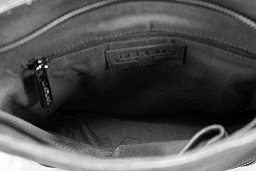 FERETI bolso bandolera para hombre negro con león en 3D de piel autentica combinado con tela