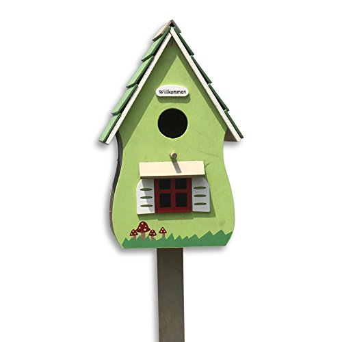 Whole House Worlds Willkommen Birdhouse, Retro Hut-Style Garden Stake, Rustic Pale Spring Green, Painted Details, Plywood, 6 L x 4 3/4 W x 45 1/4 H Inches