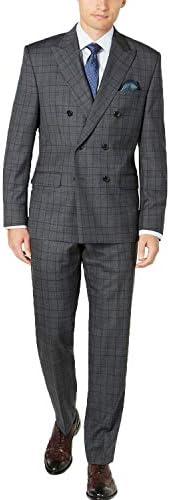 チェック メンズスーツ 上下セット ビジネス ダブル 大きいサイズオーダースーツ 紳士