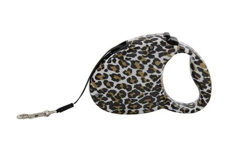 - Alpha Dog Series Retractable Dog Leash, Leopard Print