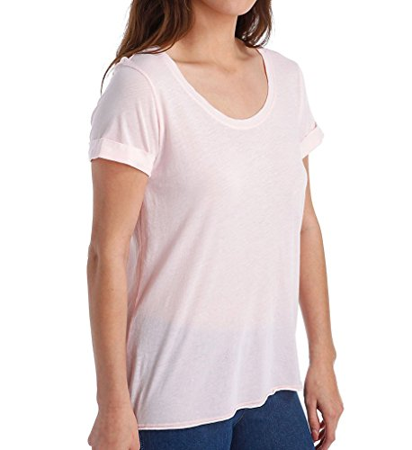 Splendid Womens Burnout Cuffed Sleeve T-Shirt Pink S