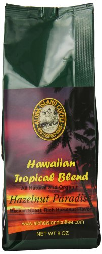 Aloha Island Coffee Company Kona Hawaiian Blend Whole Bean Coffee, Hazelnut Flavored, 1 Pound