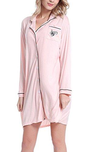 Womens Nightshirt Button Sleepwear Pajamas