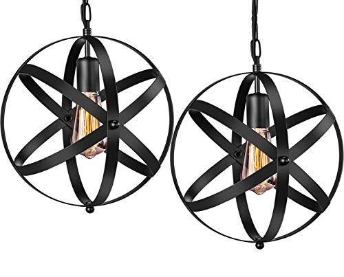 Industrial Pendant Light, INNOCCY 2 Pack Vintage Spherical Pendant Light Fixture with 39.3 Inches Adjustable Metal Chain