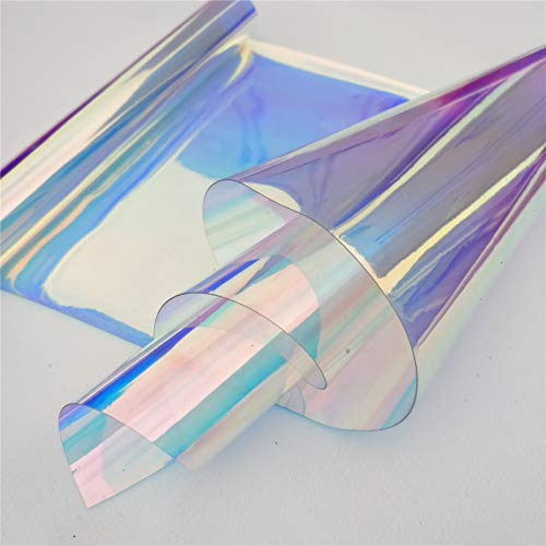 ZAIONE PVC Holographic Clear Film 5 Yards Width 37'' Roll Mirrored Foil Holographic Vinyl Graphic Fabric for Shoes Bag Sewing Patchwork DIY Bow Craft Applique (Blue) by ZAIONE (Image #5)