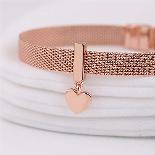 Calvas New R Series 925 Sterling Silver Rose Gold Original Charm reflexions Floating Heart Charm for Womens Woven Chain