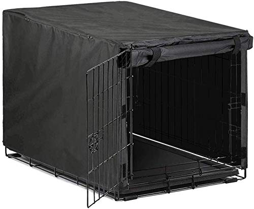 Avanigo Black Dog Crate Cover for 24 36 42 48 Inches Metal Crates Wire Dog Cage,Pet Indoor/Outdoor Durable Waterproof…